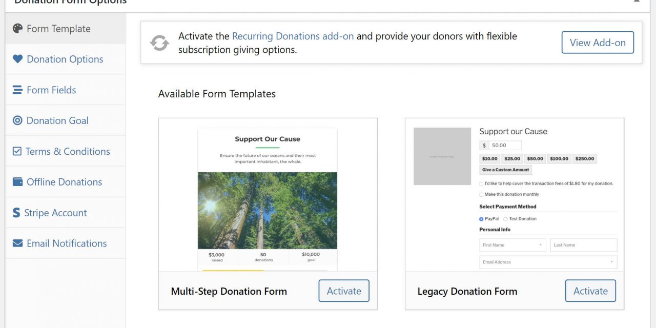 GiveWP 2.7 Adds Donation Form Templates and Per-Form Stripe Connections